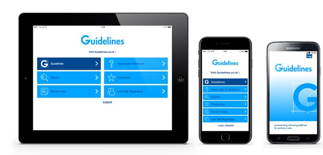 The guidelines app on the ipad iphone android